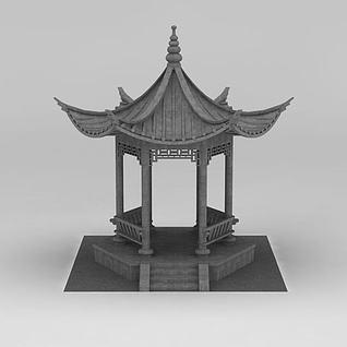 中式古建凉亭3d模型