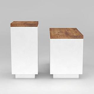 白色简约木展台3d模型