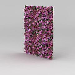 3D門廳植物花墻模型