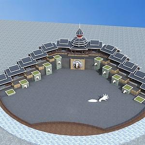 苗族塔樓景觀模型3d模型