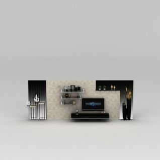 客厅电视墙3d模型