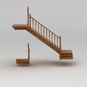 别墅实木楼梯模型