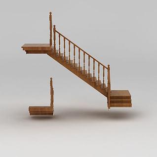 别墅实木楼梯3d模型
