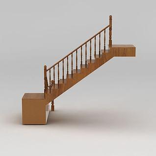 实木转角楼梯3d模型3d模型