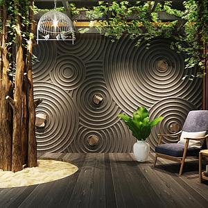 日式禅意墙休闲椅组合模型