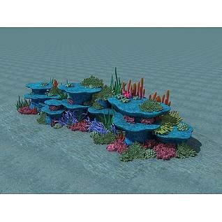 海底礁石和珊瑚3d模型