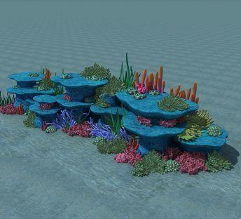 海底礁石和珊瑚