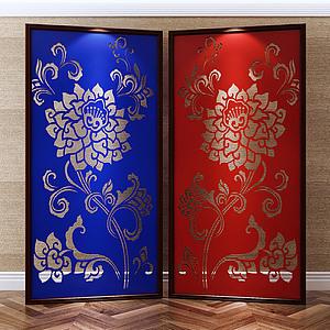 中式傳統風格雕花屏風模型3d模型
