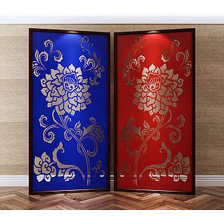 中式传统风格雕花屏风3d模型