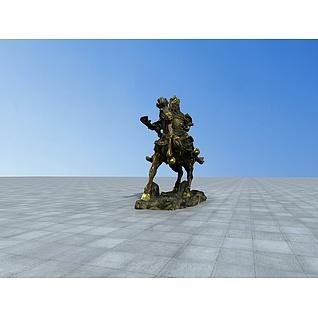 关公骑马雕塑3d模型