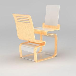 创意单人连体桌椅3d模型