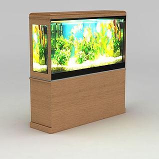 实木鱼缸柜3d模型