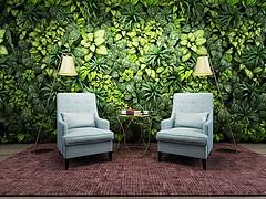 时尚沙发椅植物墙模型3d模型