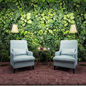 时尚沙发椅植物墙模型