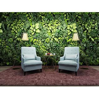 时尚沙发椅植物墙3d模型