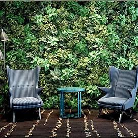 个性沙发茶几植物墙组合模型