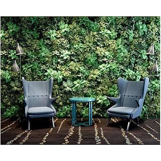 个性沙发茶几植物墙组合3d模型