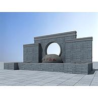 园林景观墙3D模型3d模型
