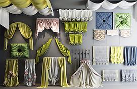 各式布艺窗帘模型