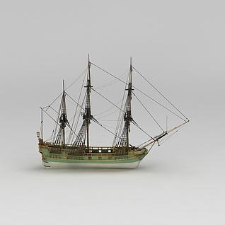多桅帆船3d模型