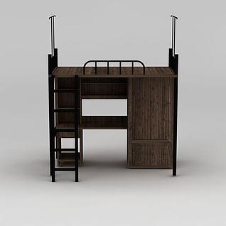 学生宿舍上下木床3d模型