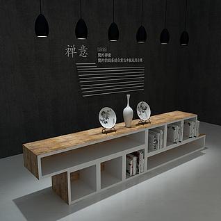 中式陈列柜书柜3d模型
