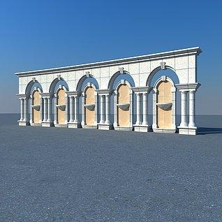 欧式建筑景观墙3d模型