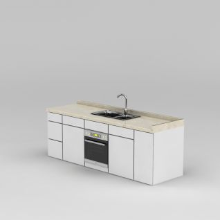 厨房双盆型水槽3d模型