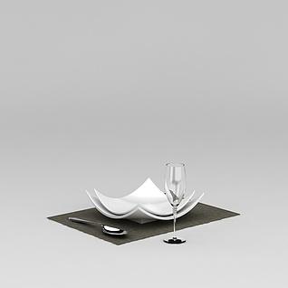 餐具盘子红酒杯3d模型
