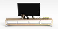 现代实木电视柜装饰摆件组合模型3d模型
