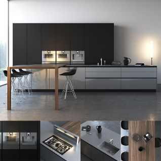 现代时尚简约厨房3d模型