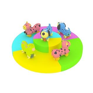 淘气堡动物转马3d模型