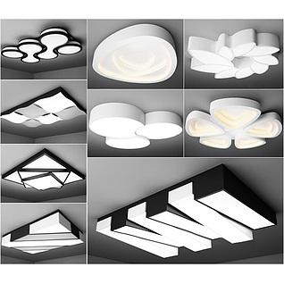 现代艺术吸顶灯3d模型