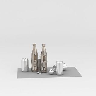 玻璃瓶易拉罐3d模型