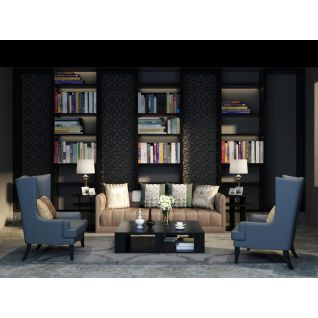 简约沙发茶几书柜组合3d模型