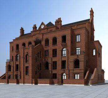 美式褐石建筑