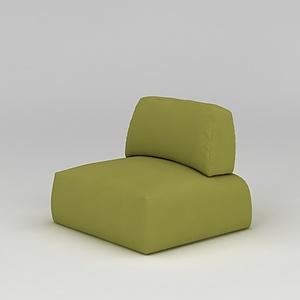 3d綠色布藝休閑單人沙發模型