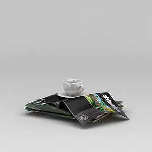 3d<font class='myIsRed'>杂志</font>咖啡杯组合模型