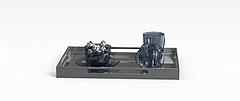 蓝色玻璃茶具模型3d模型