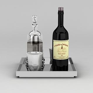 骑士酒庄干红葡萄酒3d模型