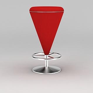 红色升降吧台椅3d模型