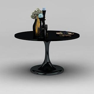 现代黑色圆餐桌3d模型