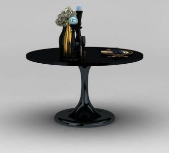 现代黑色圆餐桌