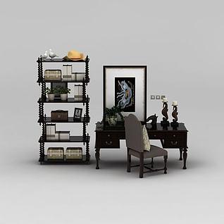 美式书桌椅书架组合3d模型