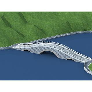 三孔石拱桥3d模型3d模型