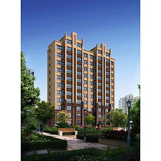 花园住宅楼3d模型