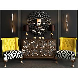后现代边柜沙发椅组合3d模型