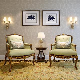 欧式高贵沙发椅圆几壁灯组合3d模型