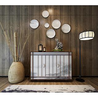 新中式玄关柜竹子干枝饰品3d模型