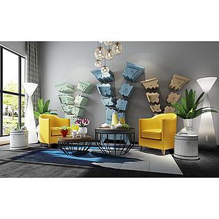后现代黄色沙发椅异形装饰柜3d模型